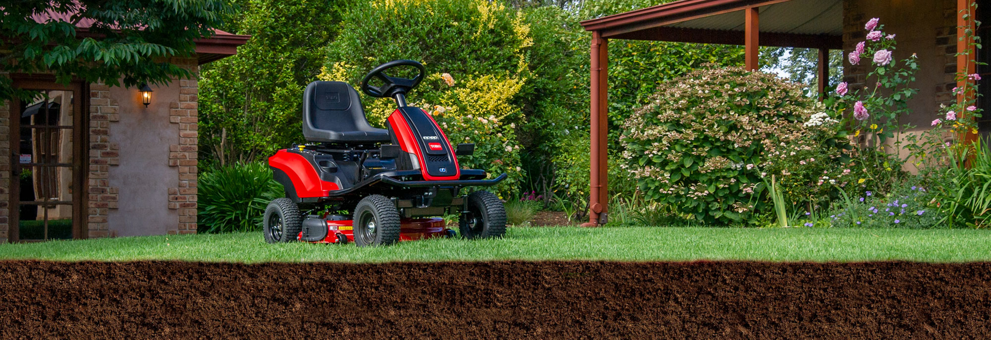 All new E Series battery powered ride-on mower